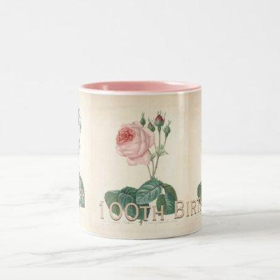 100th Birthday Celebration Vintage Rose Mug