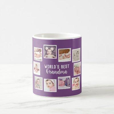 10 Photo Collage With Personalized Text Purple Coffee Mug