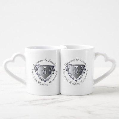10th,20th,25th,70th Heart Wedding Anniversary Coffee Mug Set
