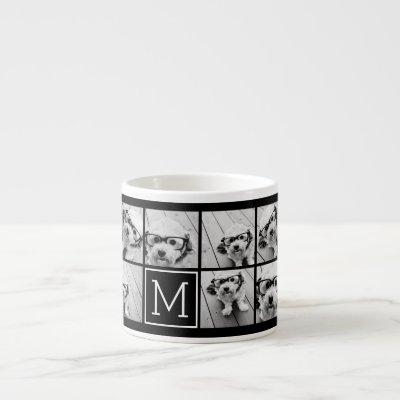 11 Photo Instagram Collage Custom Black Monogram Espresso Cup