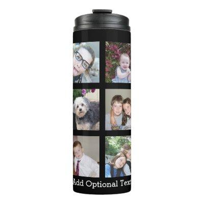 12 Photo Collage Optional Text -- Can Edit Black Thermal Tumbler