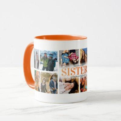 12 Photo Collage Orange Sister Mug