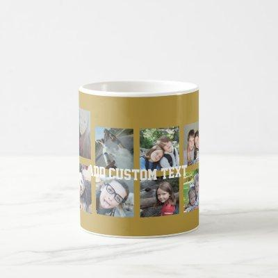 12 Photo Collage with Gold Background Coffee Mug