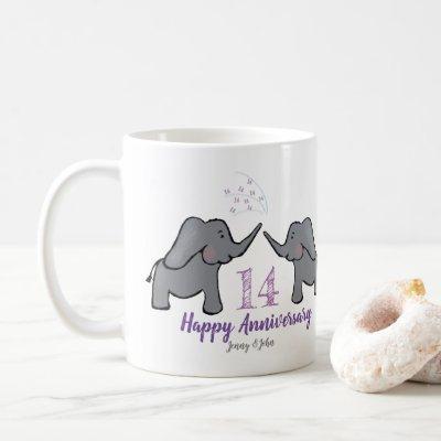 14th ivory wedding anniversary cute elephant coffee mug