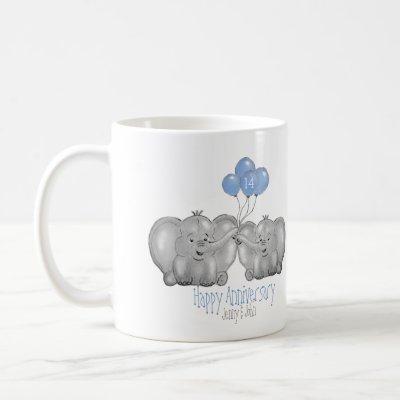 14th ivory wedding anniversary elephant gift coffee mug