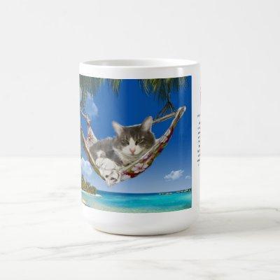 15oz Mug Corduroy in the Caribbean cat in hammock
