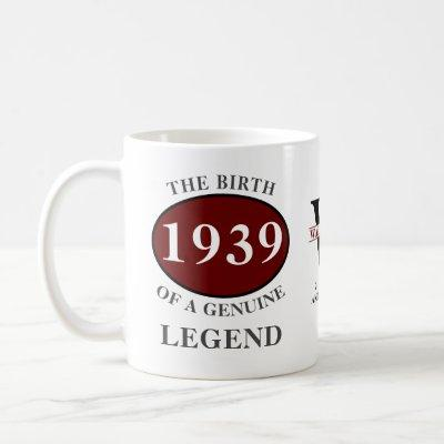 1939 80th Birthday Monogram Legend Add Your Name Coffee Mug