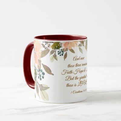 1 Corinthians 13:13 Faith Hope Love Bible Verse Mug