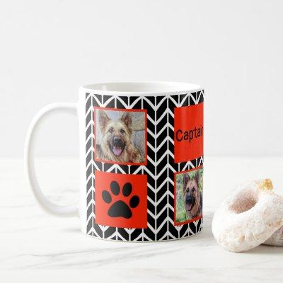 #1 Dog Dad Photo Collage Black and White Zig Zag Coffee Mug