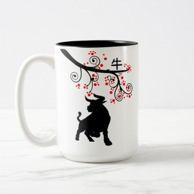 2021 Chinese New Year Ox and Red Blossoms Two-Tone Coffee Mug