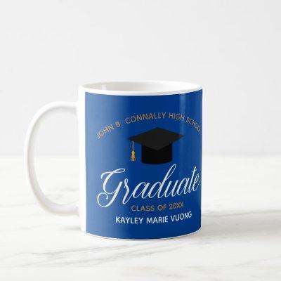 2021 Graduation Blue Gold Custom High School Name Coffee Mug