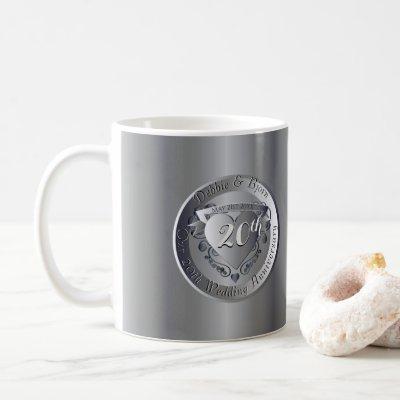 20th Wedding Anniversary Platinum 2Heart Medallion Coffee Mug