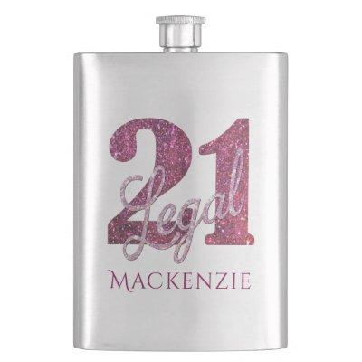 21 and Legal | Pink Glitter 21st Birthday Name Hip Flask