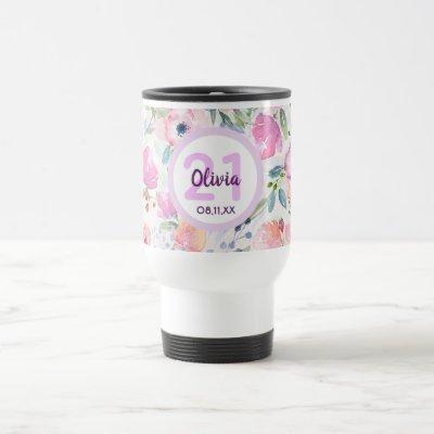 21st birthday pink florals purple name travel mug