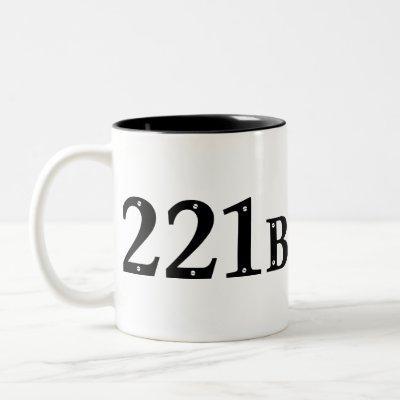221B Baker Street London - Sherlock Holmes Address Two-Tone Coffee Mug