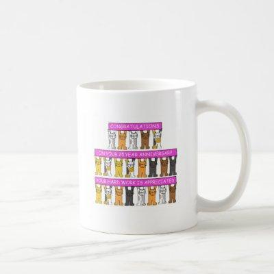 25 Year Work Anniversary Congratulations Cute Cats Coffee Mug