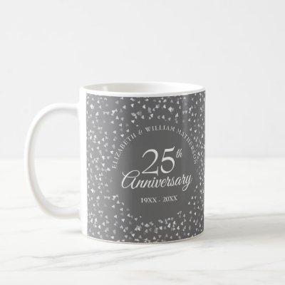 25th Anniversary Silver Hearts Coffee Mug