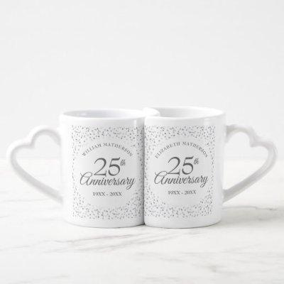 25th Anniversary Silver Hearts Confetti Coffee Mug Set
