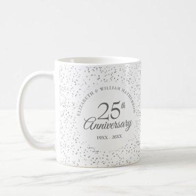 25th Anniversary Silver Stardust Coffee Mug
