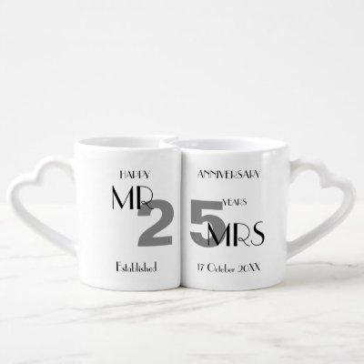25th Anniversary Silver Wedding Personalized Coffee Mug Set