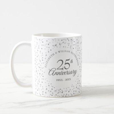 25th Wedding Anniversary Silver Hearts Coffee Mug