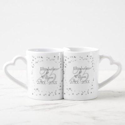 25th Wedding Anniversary Silver Hearts Confetti Coffee Mug Set