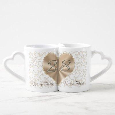 28 Year Wedding Anniversary Gifts, Heart Mugs