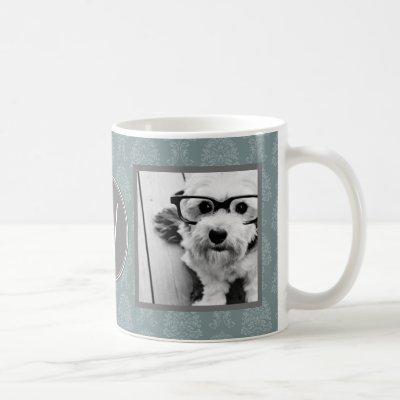 2 Photo Collage - Damask Blue and Monogram Coffee Mug