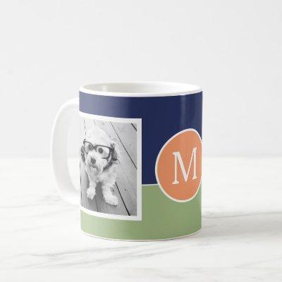 2 Photo Collage Monogram - Modern Color Block Coffee Mug