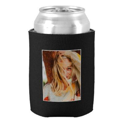 2 Photo Template Double Sided Black Can Cooler