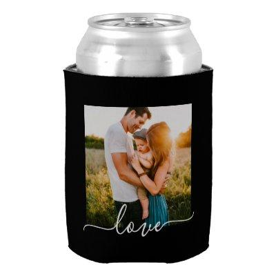2 Photo Template Love Text Double Sided Black Can Cooler
