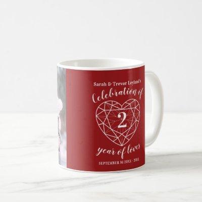 2nd anniversary garnet dark red heart custom photo coffee mug