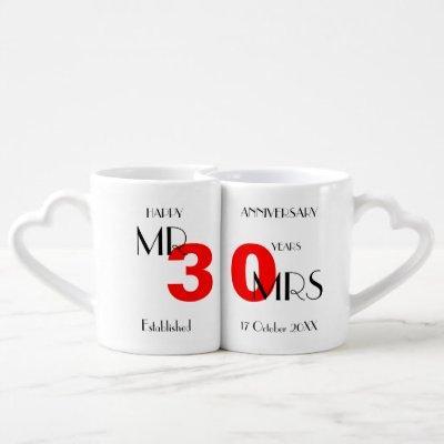 30th Wedding Anniversary Couples Coffee Mug Set