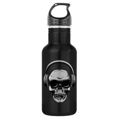 32 oz  Skull with Sunglasses & Headphones Stainless Steel Water Bottle