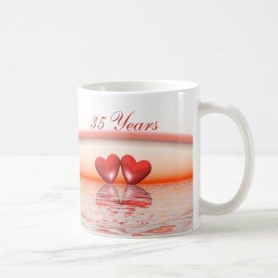 35th Anniversary Coral Hearts Coffee Mug