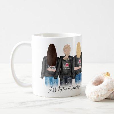 3 Best Friends Blonde Brunette Hair BFF Friendship Coffee Mug