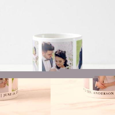 3 Photo Bride and Groom Mr. and Mrs. Wedding Coffee Mug