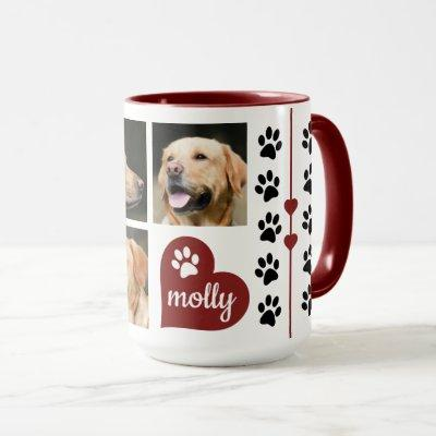 3 Photo Collage Dog Name Red Heart Mug