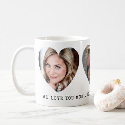 3 Photo Hearts with Personal Message Coffee Mug