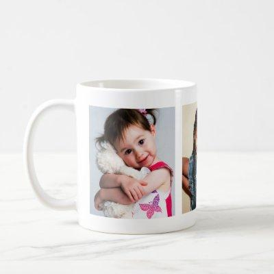 3 PHOTOS Children Son Daughter for Mothers Fathers Coffee Mug