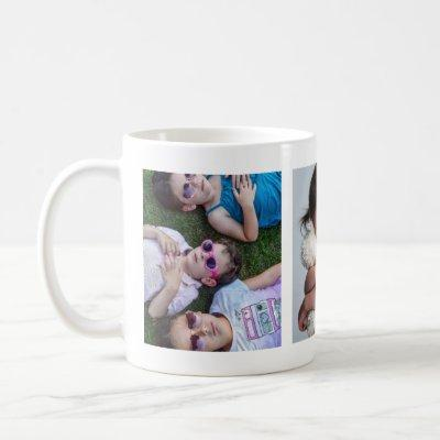 3 PHOTOS Grandchildren Collage For Grandma Grandpa Coffee Mug