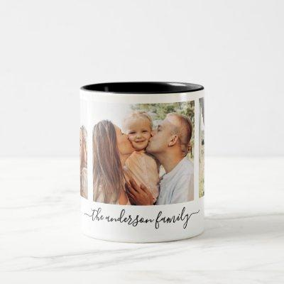 3 Three Photo Collage Family Photos Two-Tone Coffee Mug