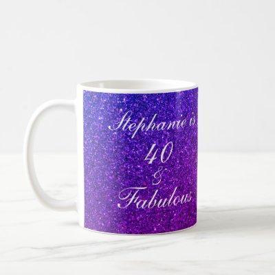 40 And Fabulous Birthday Pink Purple Glitter Ombre Coffee Mug