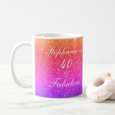 40 And Fabulous Birthday Pink Purple Glitter White Coffee Mug