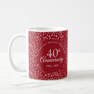 40th Anniversary Ruby Hearts Coffee Mug