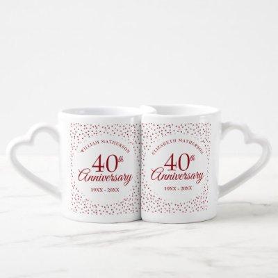 40th Anniversary Ruby Hearts Confetti Coffee Mug Set