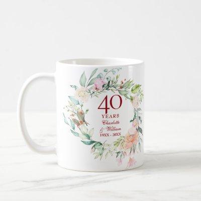 40th Anniversary Ruby Wedding Country Floral Coffee Mug
