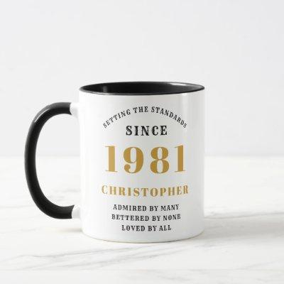 40th Birthday 1981 Black Gold Men's Personalized Mug