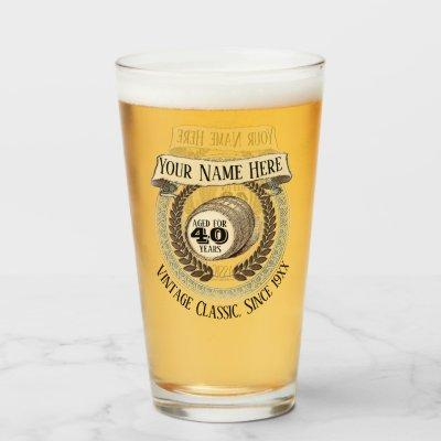 40th Birthday Custom Year Name Vintage Wine Beer Glass