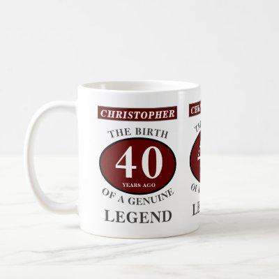 40th Birthday Red Genuine Legend Add Your Name Coffee Mug